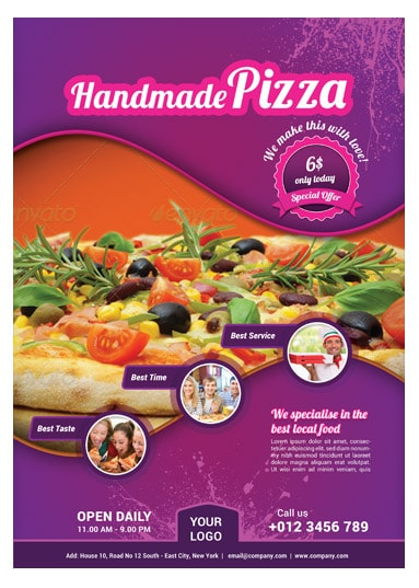 pizza food flyer template arabic vision