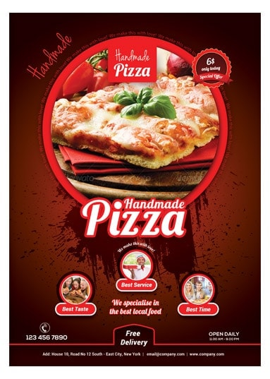 handmade pizza food flyer template arabic vision